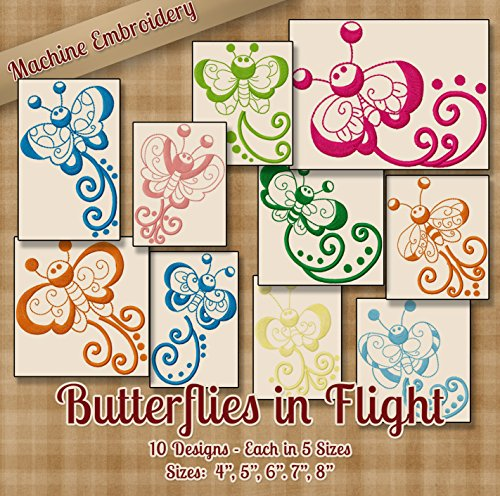 Pes Machine Embroidery Designs (Butterflies in Flight Redwork Embroidery Machine Designs on CD - 10 Outline Style Designs - 5 Sizes Each - ART PES JEF EXP VIP HUS DST VP3)