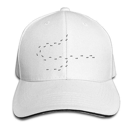 c43548da Amazon.com: Snapback Hat Sandwich Peaked Cap A String of Ftprints ...