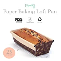 """Bakeware Paper Loft Pan Disposable Siliconized Baking Loft Mold for Baking 25ct, All Natural FDA Approve, Microwave Oven Freezer Safe Providing Beautiful Display For Baked Goods (7""""x3""""x2"""")"""