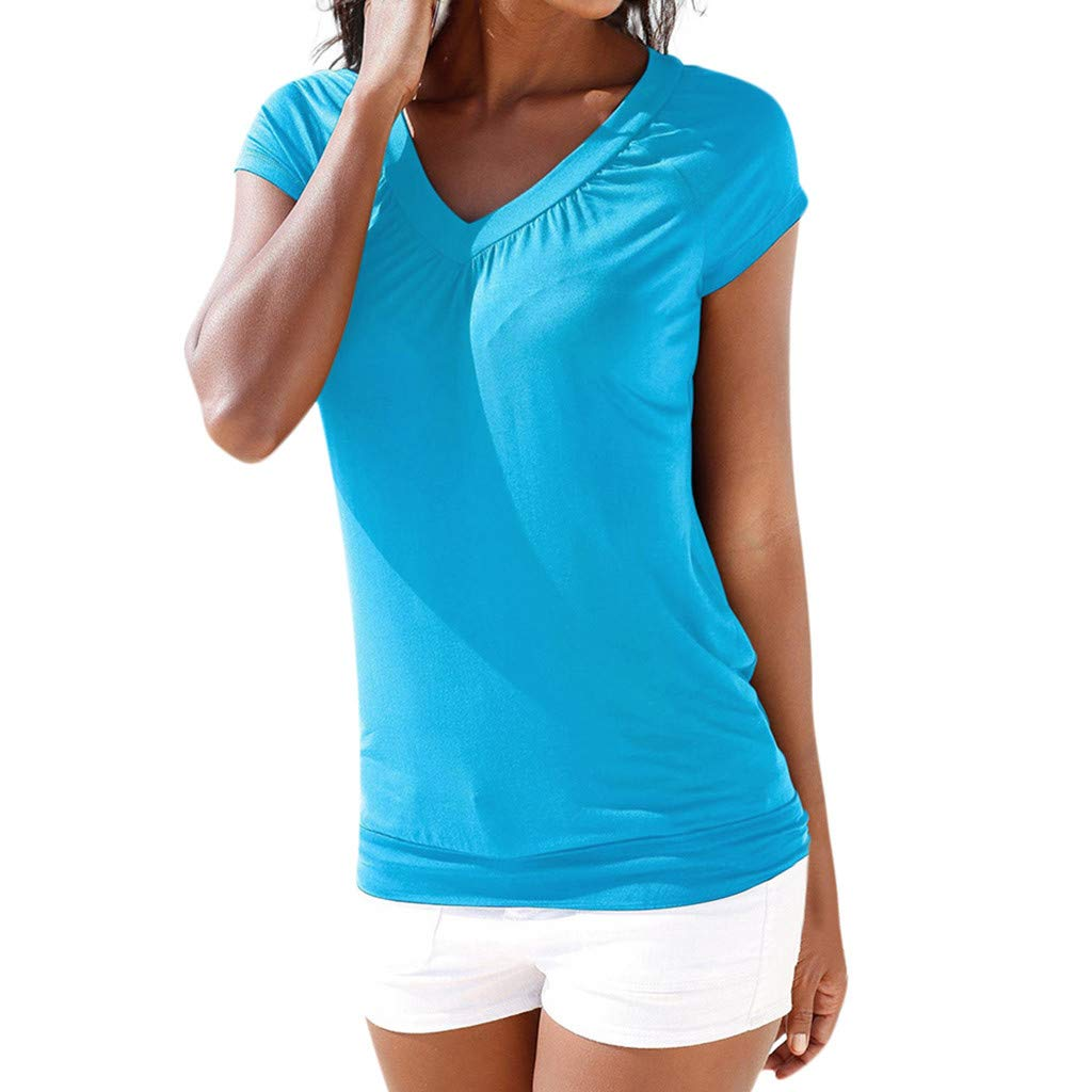 Women's Casual T-Shirt Summer Short Sleeve Button V Neck Solid Slim Fit Tee Sweatshirt Tops Blouse Plus Size Yamally Blue
