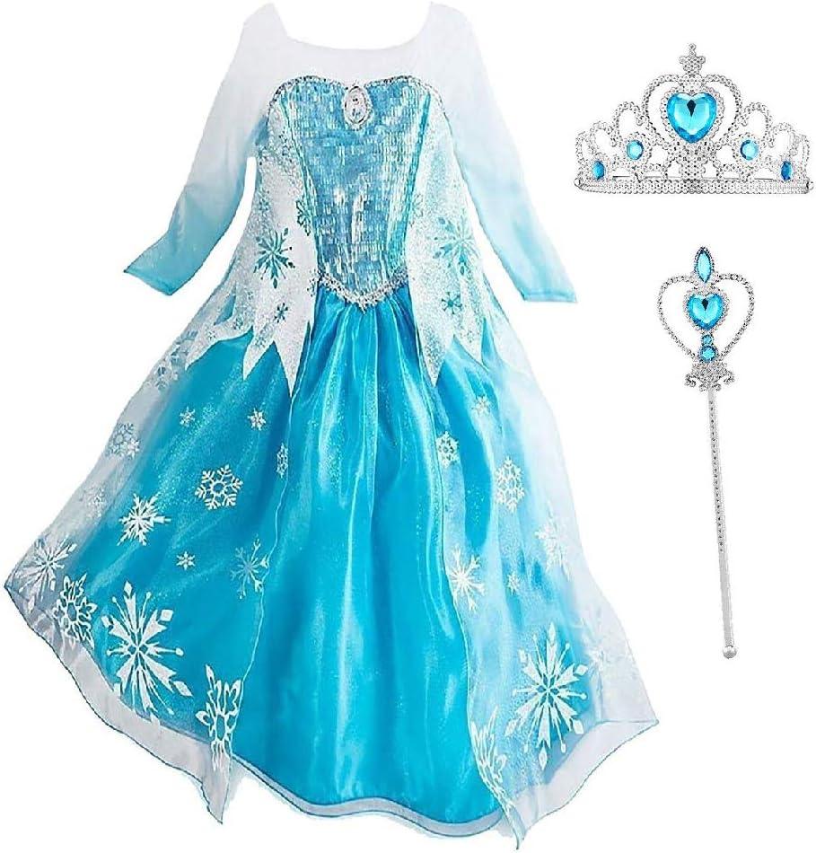 CYGJX 2 Elsa Chicas Disfraz de Princesa Reina de Hielo Vestido ...