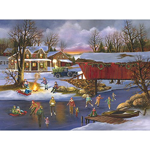 Bits and Pieces - 300 Large Piece Jigsaw Puzzle for Adults - An Old Fashioned Christmas - 300 pc Snowy Winter Holiday Jigsaw by Artist H.Hargrove