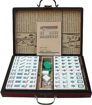 LEERAIN Mahjong/Majiang Chino Tradicional Juego Mesa Juego Fiesta Mahjong Club Set Juego Juego Fichas PortáTil con Caja Almacenaje Antigua para Entretenimiento 144 Unids 30 * 22 * 15 mm: Amazon.es: Deportes y aire libre