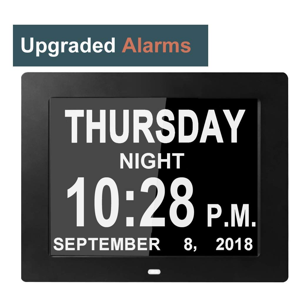 [8 Alarms Upgraded] Day Clocks Digital Date Calendar for Memory Loss Elderly Seniors Dementia Sufferers Alzheimers Products Wall Vision Impaired Patients Kids Room (8'' Black) by Véfaîî