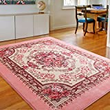Cheap MeMoreCool Area Rugs Pink Roses European Style Living Room/Bedroom Anti-slip Rugs 79 X 95 Inch