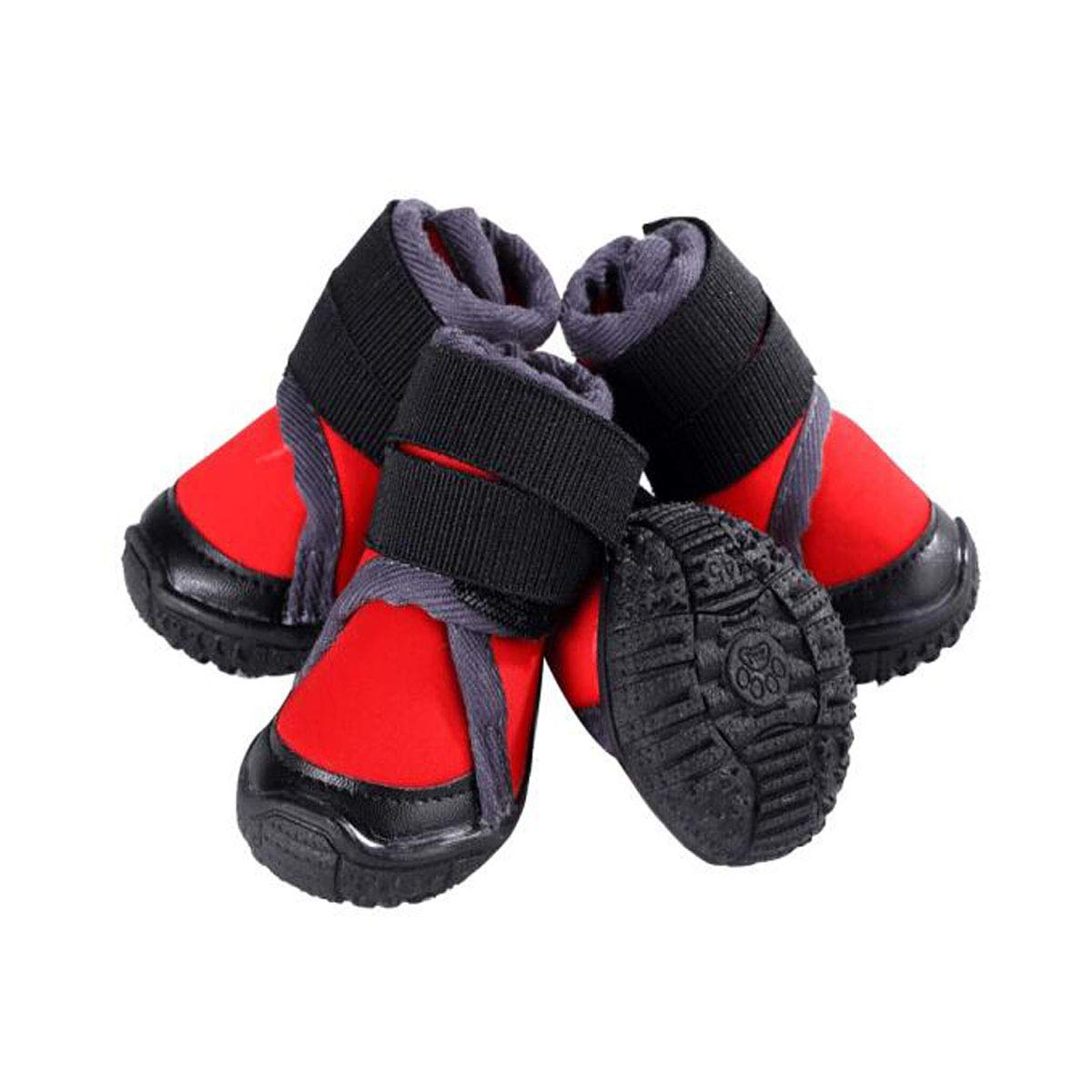 Red 60 Hongyushanghang Waterproof NonSlip Hiking Out Pet shoes, Medium and Large Dogs Plus Velvet Warm, Red 45 Yards fine (color   Red, Size   60 )