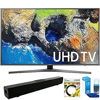 "Samsung (UN55MU7000FXZA) 54.6"" 4K Ultra HD Smart LED TV (2017 Model) with Solo X3 Bluetooth Home Theater Sound Bar + 6ft HDMI Cable + Universal Screen Cleaner for LED TVs"