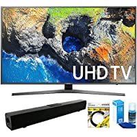 Samsung (UN65MU7000FXZA) 65 4K Ultra HD Smart LED TV (2017 Model) with Solo X3 Bluetooth Home Theater Sound Bar + 6ft HDMI Cable + Universal Screen Cleaner for LED TVs