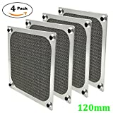 120mm Computer Fan Filter Grills with Screws, Ultra Fine Aluminum Mesh, Silver Color