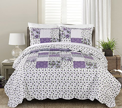 Blissful Living Luxury Ruffle Quilt Set Including Shams - Lightweight and Soft for all Seasons - Beatrice Lavender - Full/Queen (Lavender Set Quilt)