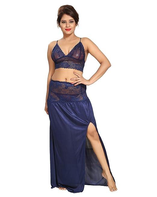 Be You satén azul marino lacey crop top y falda camisón para mujer ...