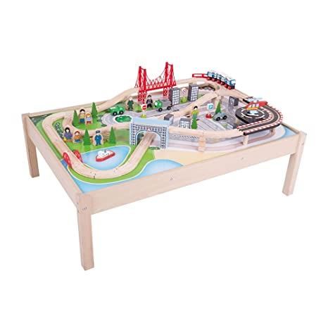 Bigjigs Rail Wooden City Train Set and Table - 59 Play Pieces - Other Major Rail  sc 1 st  Amazon.com & Amazon.com: Bigjigs Rail Wooden City Train Set and Table - 59 Play ...