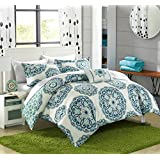 Chic Home 8 Piece Barcelona Reversible Geometric Backing Bed in a Bag Comforter Set with Sheet, King, Green