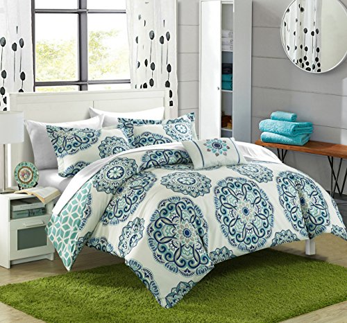 Chic Home Barcelona 6 Piece Reversible Comforter Set Super Soft Microfiber Large Printed Medallion Design with Geometric Patterned Backing Bed in a Bag with Sheet Set and Decorative Pillows Shams, Twin Green (Patterned Bedding Sets)