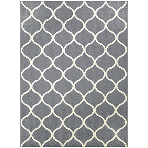 Maples Rugs Area Rugs - Rebecca 5 X 7 Non Slip Large Rug [Made in USA] for Living Room, Bedroom, and Dining Room, 5 X 7, Grey/Cream