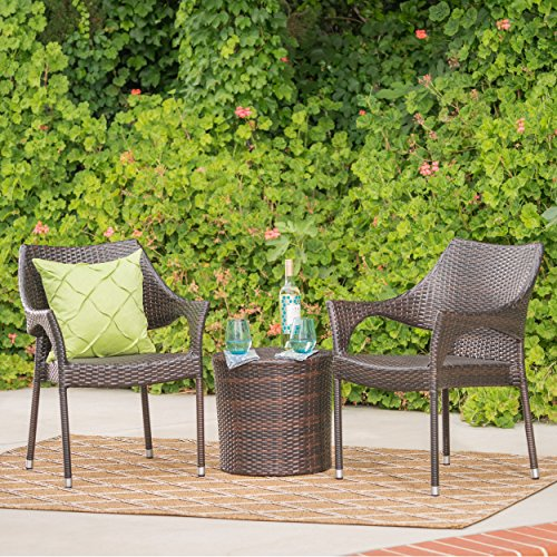 - Álfheimr Outdoor 3 Piece Multi-brown Wicker Stacking Chair Chat Set (Cylindrical Table)