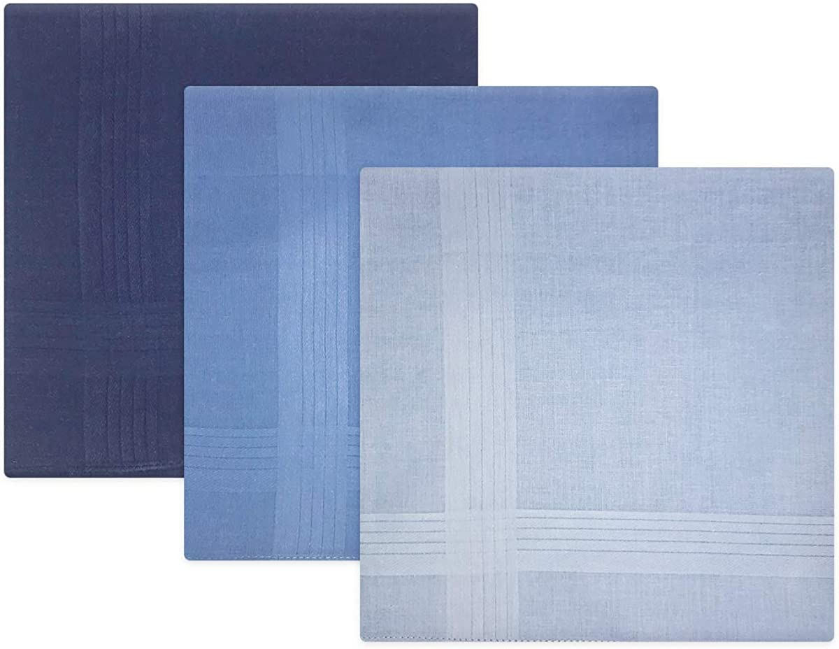100/% Cotton Pack Of 3 Mens//Gentlemens Blue Dyed Handkerchiefs With Satin Stripe Borders 40 x 40cm