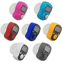AFUNTA 7 stuks vingerteller, 5 digitale elektronische led-vingerteller, mechanische handmatige clicker, aantal lap…