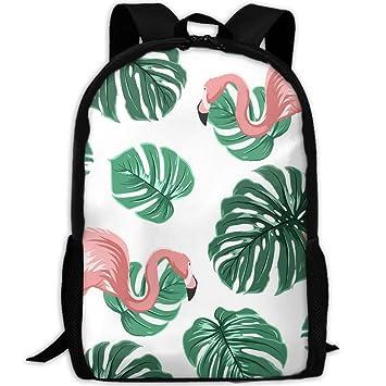 SARA NELL Mochila Escolar Rosa Flamenco y Palma Tropical Leaves Escolar Bookbag Casual Outdoor Daypack Bolsa de Viaje para Teen Niños Niñas Colegio ...