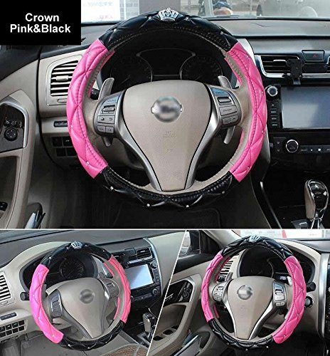 - GUANGGU Auto Steering Wheel Cover with Noble Crown + Bling Diamond + Exquisite Lattice Design + Soft Leather Stylish + Elegant Car Series Universal 15