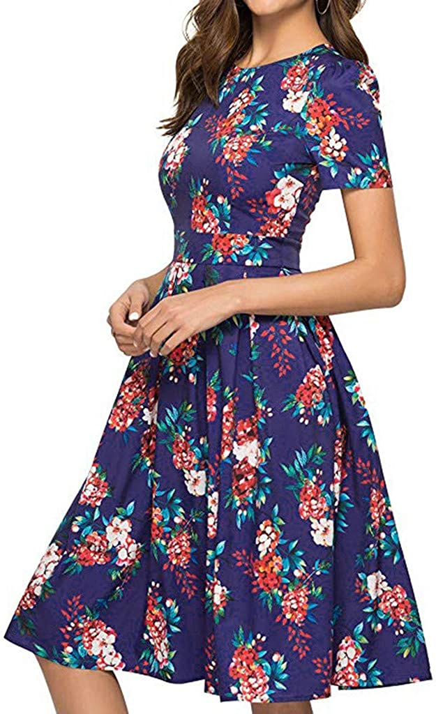 Womens Floral Short Sleeve Dresses Summer Casual Party Holiday Short Dress