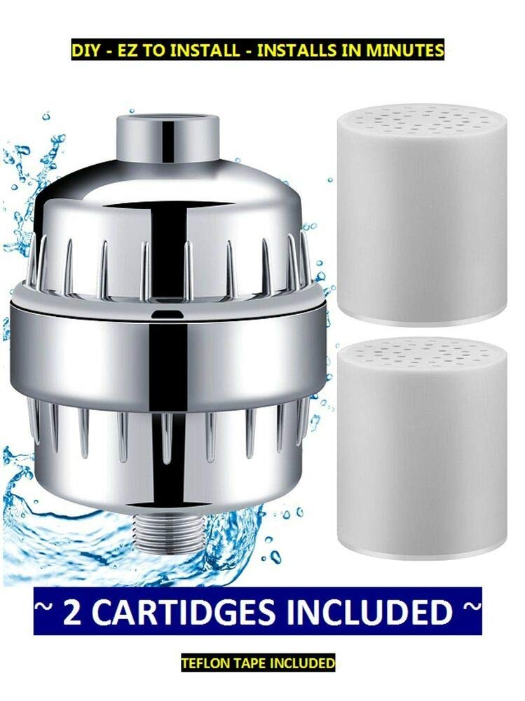 New Shower head Filter Shower Water Filter w/ 2 Cartridges - Removes Chlorine -