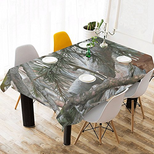 InterestPrint Cool Military Camouflage Camo Tree Branches and Leaves Table Cover Rectangle Cotton Linen Indoor & Outdoor Tablecloth for Rectangle Tables 60 x 104 Inch