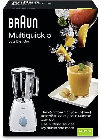 Braun - Batidora Vaso Mx2050, 525W, 5 Veloc, Jarra Cristal 1,75L ...