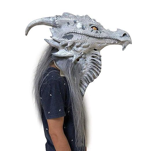 Circlefly Horror de Halloween Monstruo Realista máscara Plata miedosas apoyos de Dragon Mascara Fiesta de Disfraces: Amazon.es: Jardín