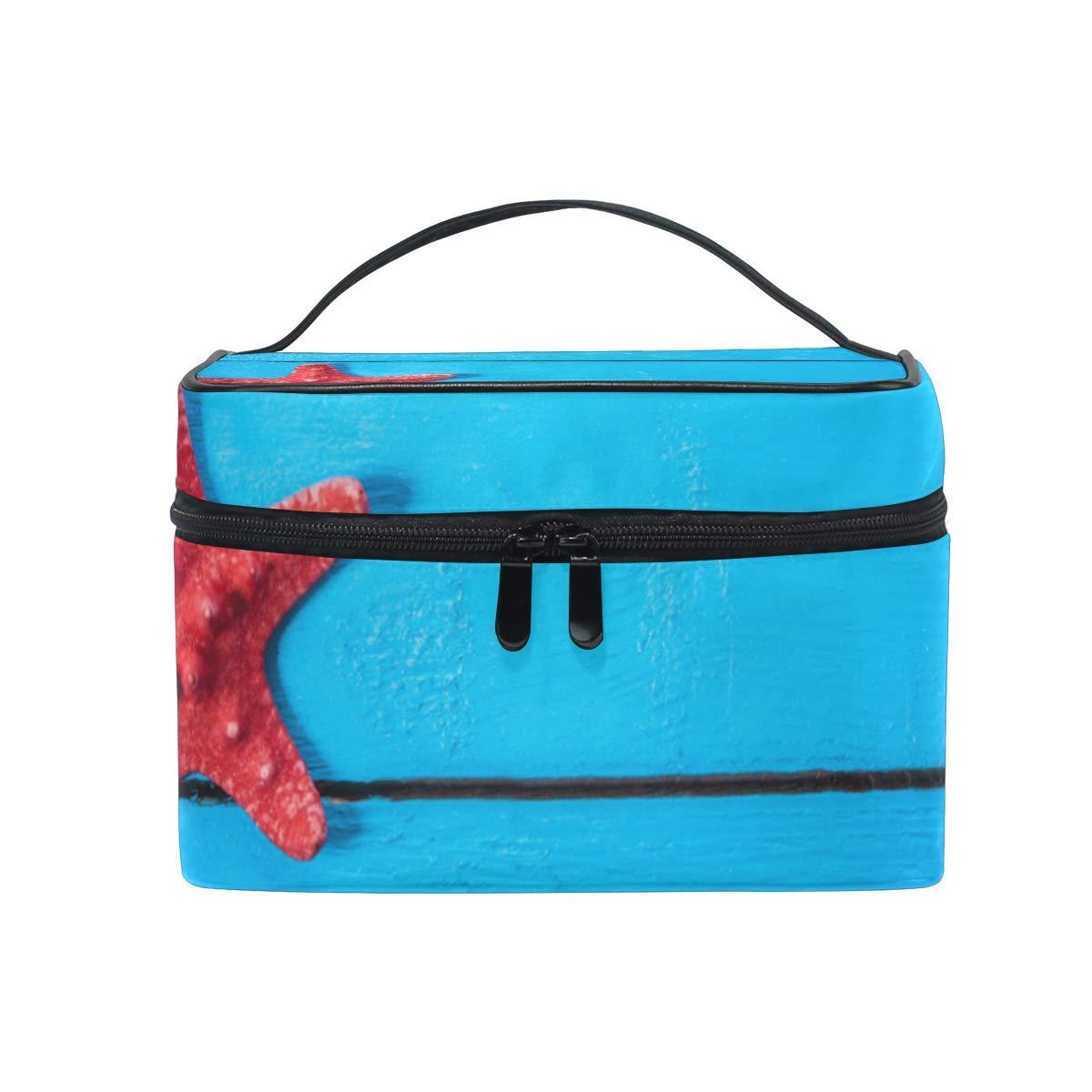 Summer Beach Scene Makeup Case Versatile Portable Cosmetic Bag Travel Hanging Toiletry Pouch Organizer for Women Girls
