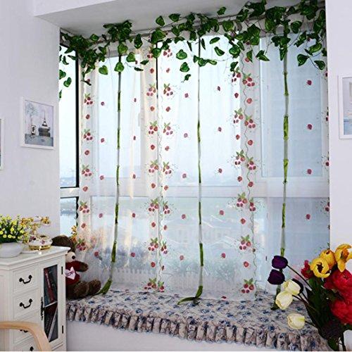 Malloom Embroidery Window Treatment Savannah Tie Up Sheer Curtain (Panel Savannah Screen)