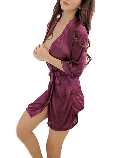 Batas Mujer Elegante Pijama Corto Bata Lencería Color Sólido Media Manga Albornoz Camisón: Amazon.es: Ropa y accesorios