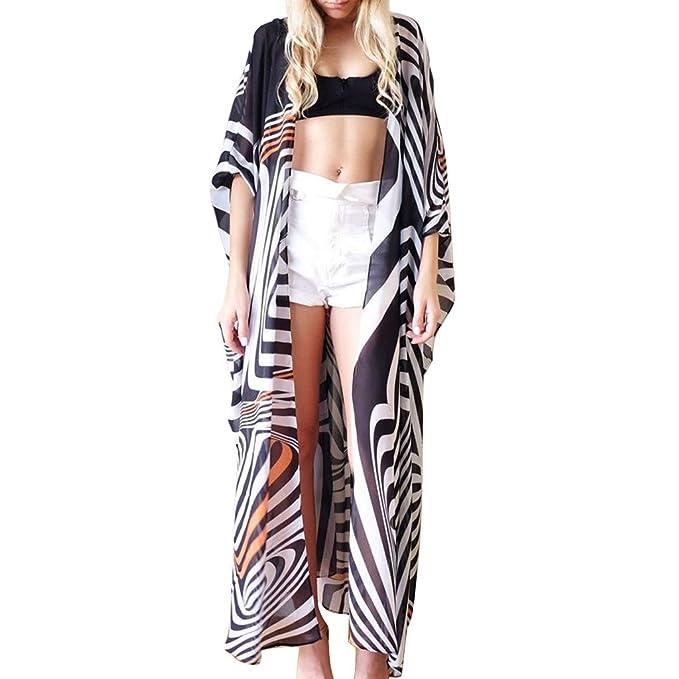Qingsiy Blusa para La Playa Largo Bohemio Hippie Vestido Estampado Mujer Tunica Piscina Kaftan Kimono Vestidos Verano Ropa de Baño Camisolas y Pareos ...