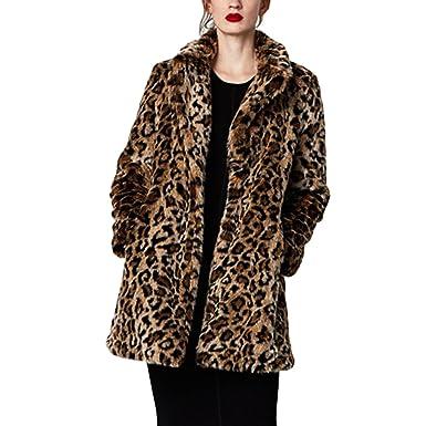 68f9504e72c3 SIMANLI Leopard Printed Long Sleeve Faux Fur Coat, Winter Coat Fluffy Jacket  for Women (
