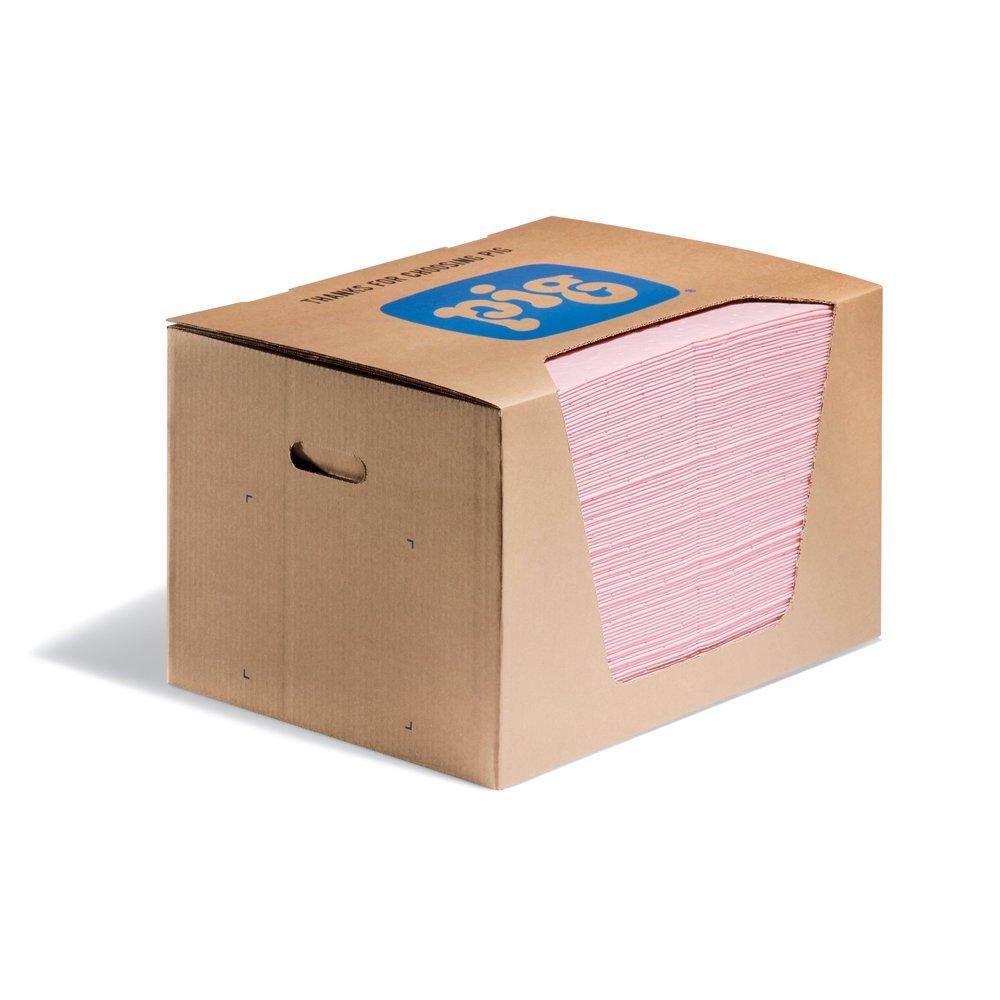 New Pig HazMat Mat Pad in Dispenser Box, 28 oz Absorbency Per Pad, Absorbs Hazardous Chemicals - Acids, Bases & Unknowns, 100 (20'' x 15'') Pads Per Box, Pink, MAT354