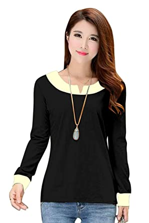 DIVYA ENTERPRISE Women s Crepe Top (Black   off-White) Size  X-Large   Amazon.in  Clothing   Accessories cb941e58cc