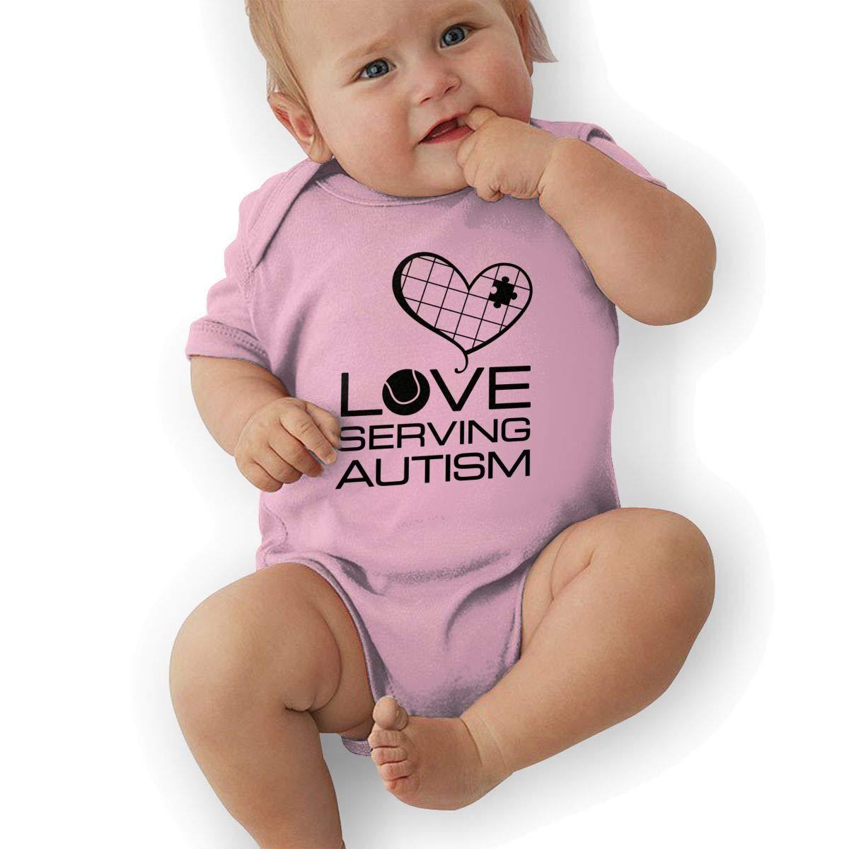Toddler Baby Boys Bodysuit Short-Sleeve Onesie Love Serving Autism Print Rompers Winter Pajamas