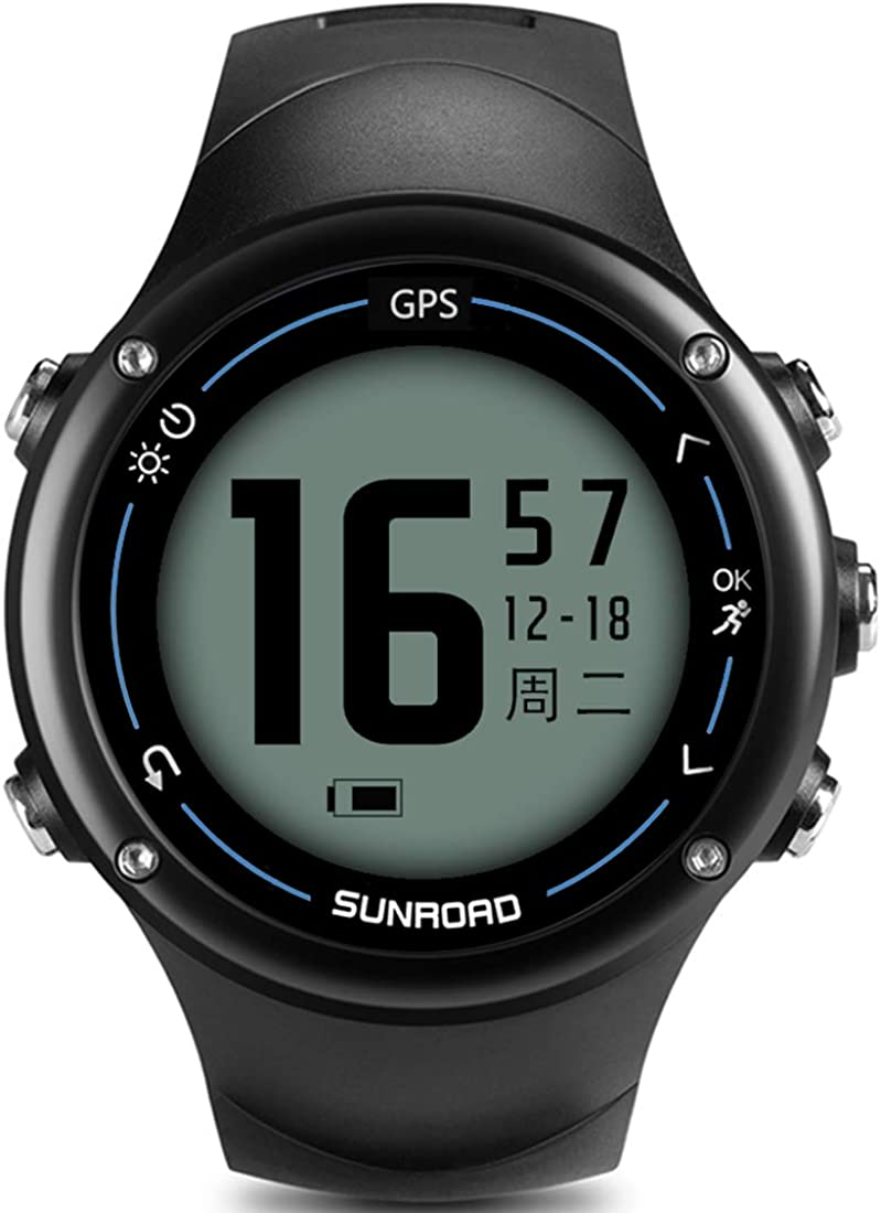 SUNROAD Triathlon Fitness Tracker Activity Heart Rate Monitoring GPS Digital Men s Watch with 5ATM Waterproof USB Charger Running Hiking Compass Joggling Wristwatch