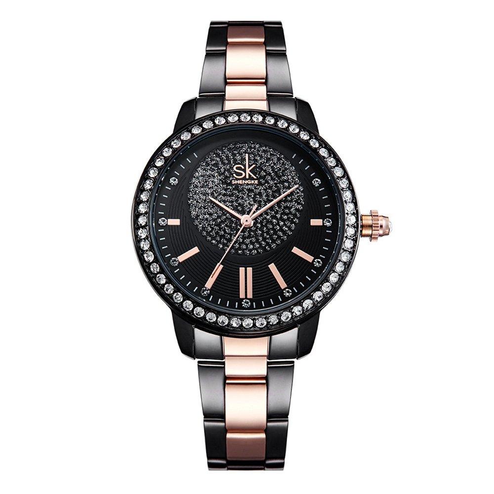 SK Black Elegant Women Watches Stainless Steel Diamond Face Crystal Luxury Female Wrist Watch Girl Clock Relogio Feminino (K0075-Black)