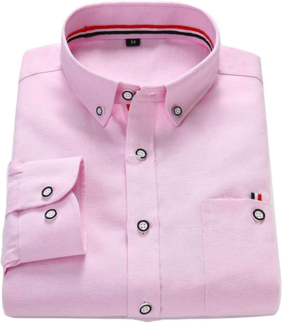 Lutratocro Mens Vogue Turn Down Pure Color Long Sleeve Tops Button Front Shirts