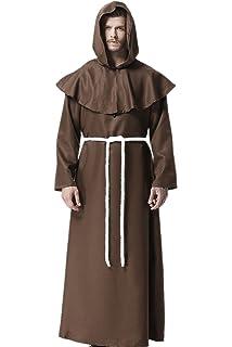 Qincos Traje Medieval Encapuchado Disfraz de Monje Medieval ...