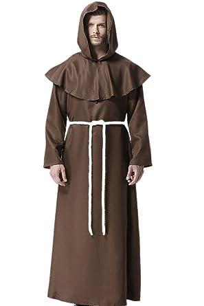 dream cosplay Medieval Fraile Túnica Disfraz Monje con Cruz para Halloween