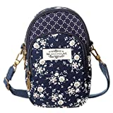 Cell Phone Purse Wallet Canvas Flower Pattern Small Crossbody Bags For Women(Blue)