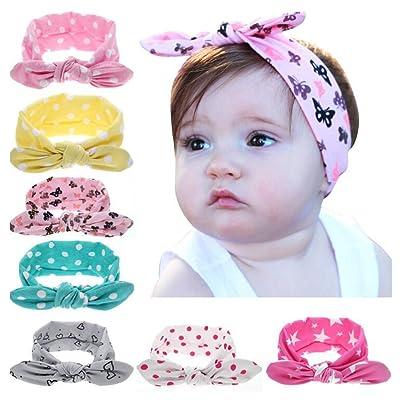 Xiaopangzi 8pcs Fashion Headwear enfants Dot noeud bandeau nouveau-né élastiques cheveux bandes