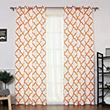 Best Home Fashion Oxford Basketweave Reverse Moroccan Print Curtains – Stainless Steel Nickel Grommet Top – Orange – 52″ W x 96″ L – (Set of 2 Panels) Review