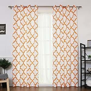 "Best Home Fashion Oxford Basketweave Reverse Moroccan Print Curtains – Stainless Steel Nickel Grommet Top – Orange – 52""W x 84""L - (Set of 2 Panels)"