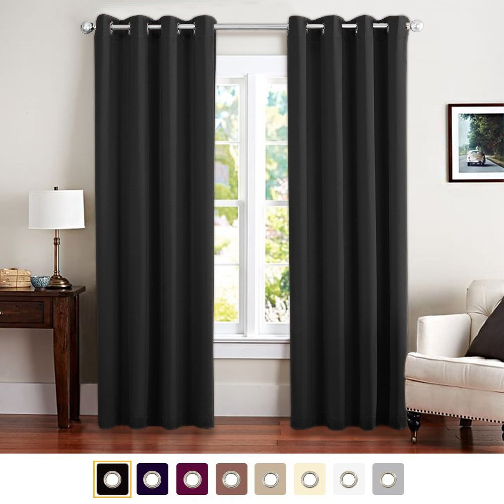 """Blackout Curtain 84 inches Long for Living Room Room Darkrning Window Curtain Panel for Bedroom Triple Weave Drape Grommet Top,52"""" W x 84"""" L,1 Panel, Black"""