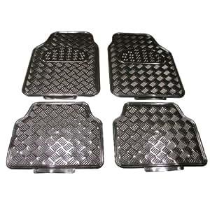 Juego de alfombras imitación aluminio carbono