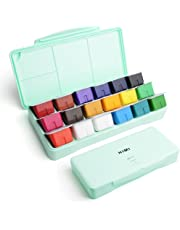 MIYA Gouache Paint Set, 18 Colors x 30ml Unique Jelly Cup Design, Portable Case with Palette for Artists, Students, Gouache Watercolor Painting (Mint Green)