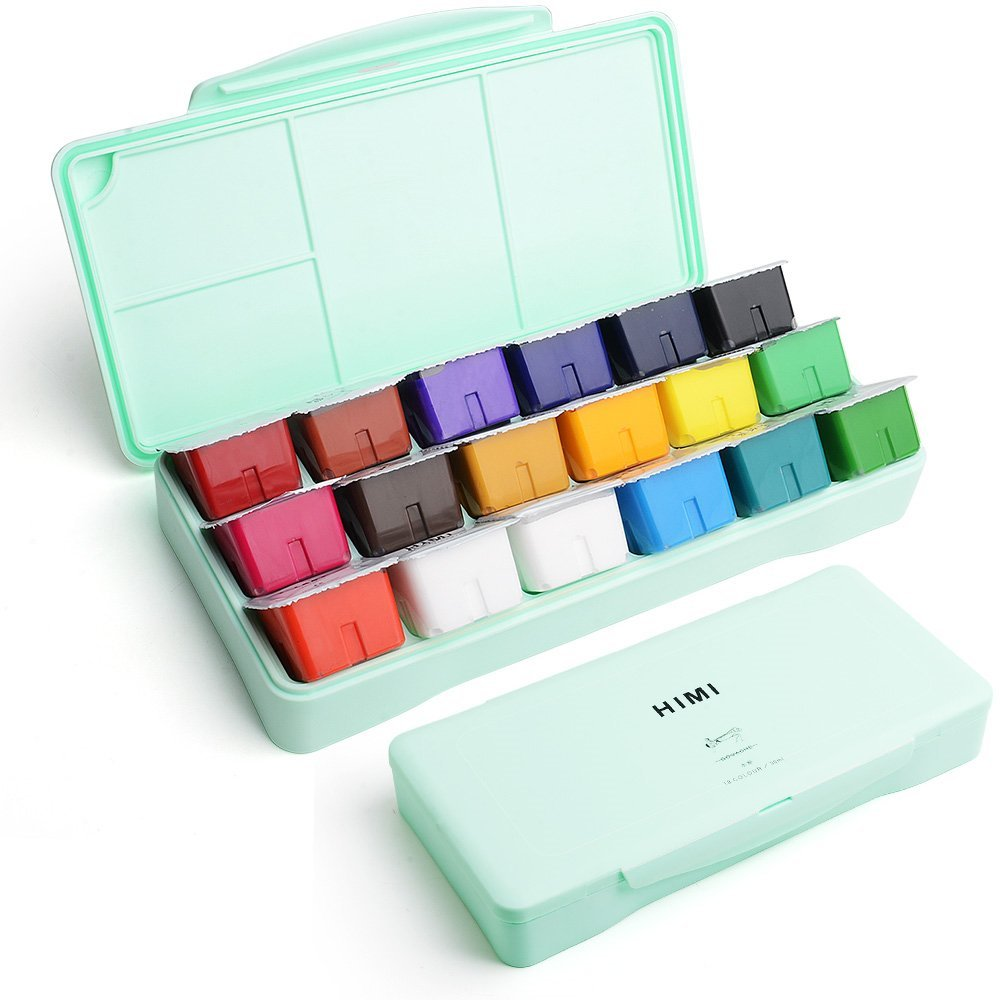 Miya Gouache Paint Set, 18 Colors x 30ml Unique Jelly Cup Design, Portable Case with Palette for Artists, Students, Gouache Opaque Watercolor Painting (Mint Green) by MIYA
